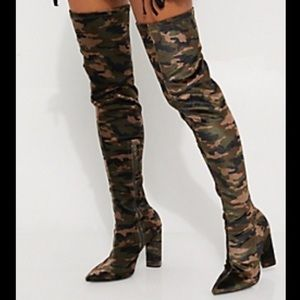 Shoes - Camo over the knee heel boots
